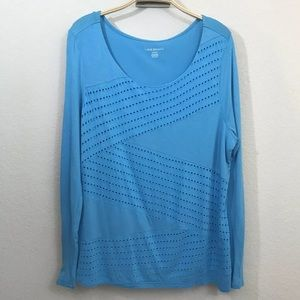 💋Lane Bryant Top Size 14/16 Blue Long Sleeve